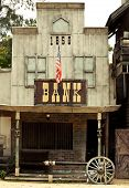 stock photo of gunfights  - old Bank in america Wild West style - JPG