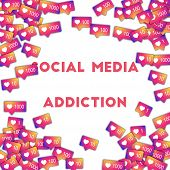 Social Media Addiction. Social Media Icons In Abstract Shape Background With Gradient Counter. Socia poster