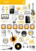 collection of 40 music and sound related icons and design-elements - including a set of media-player