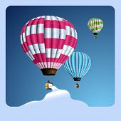 lollipop-colored air balloons with banner for your text