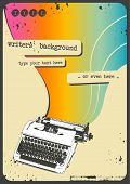 achtergrond met vintage schrijfmachine en regenboog stroom schrijven van de jaren zestig