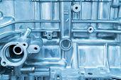 Metallic background of the internal diesel truck engine or car engine. poster
