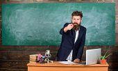 Talking To Students Or Pupils. Teacher Bearded Man Tell Interesting Story. Teacher Charismatic Hipst poster