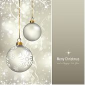 stock photo of merry christmas text  - elegant christmas background with baubles  - JPG