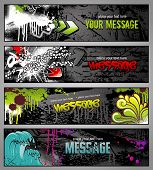 stock photo of graffiti  - set of four graffiti style grungy urban banners - JPG