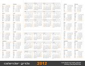 set of four simple calendar grids for 2012 - vertically/horizontally aligned, starting Sunday and Mo