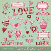 vector set: Valentine's doodles - lots of cute design elements