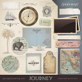 digital scrapbooking kit: Journey - assorted ephemera and paper objects for your travel and vacation layouts (eps10 file)