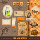 scrapbooking kit: Halloween - lots of vintage ephemera and cute design elements for your projects