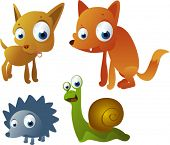 vector chihuahua dog, fox, hedgehog and snail