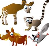 vector animal set 95: okapi, lemur, glider, warthog