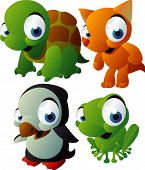 vector animal set 125: turtle, fox, penguin, frog