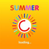 Summer Is Loading, Progress Loading Bar, Banner Design. Vector Illustration. Eps 10 poster