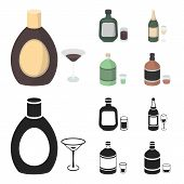 Liquor Chocolate, Champagne, Absinthe, Herbal Liqueur.alcohol Set Collection Icons In Cartoon, Black poster