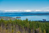 Lookout view of Ladysmith shoreline from top of a mountain and gulf islands in the horizon, taken on poster
