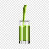Glass Of Kiwi Juice Mockup. Realistic Illustration Of Glass Of Kiwi Juice Vector Mockup For On Trans poster