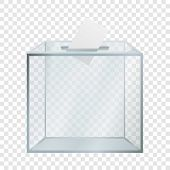 Transparent Election Box Mockup. Realistic Illustration Of Transparent Election Box Vector Mockup Fo poster