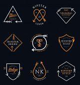 Hipster Logo Badges Collection. Hipster Logo Design Vector poster