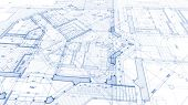 Architecture design: blueprint plan - illustration of a plan modern residential building / technolog poster