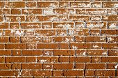 Part Of The Wall Of An Old House Outside Of Red Brick With White Splashes Removed Putty For Restorat poster