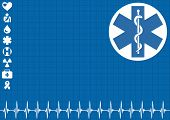 Medical blue background with ekg heartbeat pattern