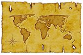 Old World Map on scroll with compass