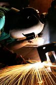 picture of factory-worker  - Factory welder at work - JPG