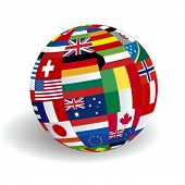 stock photo of longitude  - VECTOR Global world flags - JPG