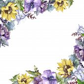 Watercolor Bouquet Flowers. Floral Botanical Flower. Frame Border Ornament Square. Full Name Of The  poster