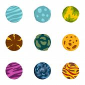 Galaxy Planet Icons Set. Flat Set Of 9 Galaxy Planet Vector Icons For Web Isolated On White Backgrou poster
