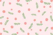 Cute Botanics Pattern With Pink Flower And Green Leaf On Pastel Pink Background. Sweet Pink Floral A poster