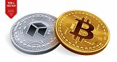 Bitcoin. Neo. 3d Isometric Physical Coins. Digital Currency. Cryptocurrency. Silver Coin With Neo Sy poster