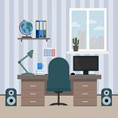 The Interior Room Of A Teenager. Workplace Of The Student. Desktop With Computer, Shelves With Books poster
