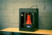 3d Printer Working Close Up. Automatic Three Dimensional 3d Printer Performs Plastic. Modern 3d Prin poster