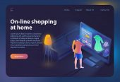 Online Shopping At Home. Ecommerce Sales, Online Shopping, Digital Marketing. Sale And Consumerism C poster