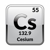 Cesium Symbol.chemical Element Of The Periodic Table On A Glossy White Background In A Silver Frame. poster