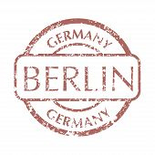 Colored Grungy Postal Stamp From Berlin. Isolated Vector Illustration. poster