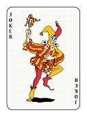 Joker Spielkarte mit roten und goldenen Kostüm (auch im Vektor-Format verfügbar)