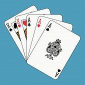 Full house aces kings on blue