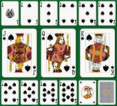 Spade suit. Jack, Queen and King double sized. Green background in a separate level.