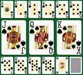 Spade suit large index. Jack, queen and king double sized. Green background in a separate level