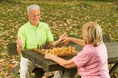 Happy Senior Couple Playing Chess On A Park Bench