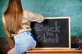 School Dress Code. Girl Denim Skirt Breaking School Clothing Rules. Student Teacher Mini Skirt Sexy  poster