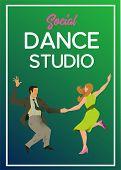 Poster For Dance Studio. Flyer Or Element Of Advertizing For Social Dances Studio. Flat Vector Illus poster