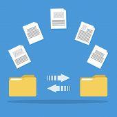 Постер, плакат: File Transfer Between Folders Copy Files Exchange Data And Document Transfer Through Internet Mod