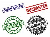 Guarantee Seal Prints With Damaged Surface. Black, Green, Red, Blue Vector Rubber Prints Of Guarante poster