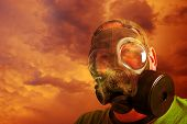 Man With Gas Mask And Clouds