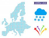 Snowflake European Union Map. Vector Geographic Plan In Blue Winter Colors. Vector Concept Of Europe poster