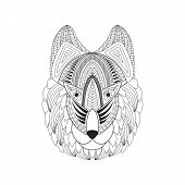 Vector Illustration Of Doodle Wolf Head. Doodle Wolf Head For T-shirts Design, Tattoo, Coloring Book poster