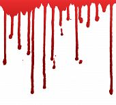 Dripping Blood  Or Paint Isolated On White Background. Halloween Concept, Ink Splatter Illustration. poster